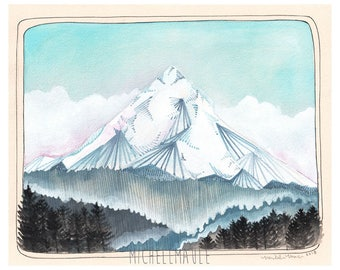 Mt Hood Art - Art - Art Print - Print of Mt Hood - Mountain Art - Northwest Art - Oregon Art - 8x10 Print - Northwest Print - Mt Hood