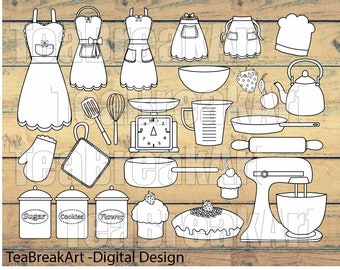 26 PNG Files Retro Kitchen Outline Digital Clip Art Graphics  (014)