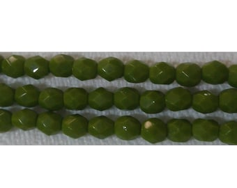 Fire polished 4 mm Opaque Olive 1-04-53420 50/100/150 Pcs