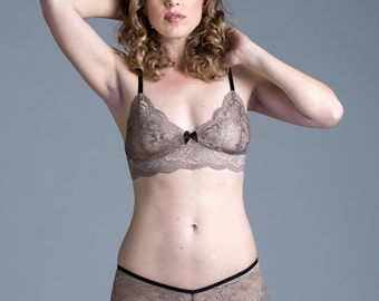 SALE Lace Bra - Tan/Nude 'Sassafras' Bralette with Black Detail - Sheer Lingerie - Made To Order Custom Fit