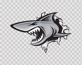 Decals Sticker Shark Tearing Atv Waterproof Sports car Fishing Fisherman 01474