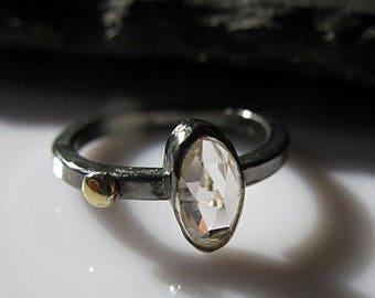 Zircon Ring White Zircon Promise Ring Goth Engagement Ring Unique Gemstone Ring  Black Rhodium Black Ring Size 6 1/4 Clear Gemstone Ring In