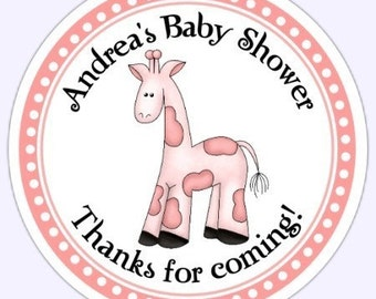 Pink Giraffe Baby Shower Labels, Custom Pink Baby Shower Stickers - Personalized for YOU