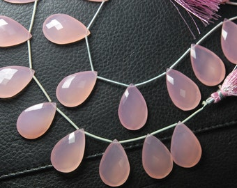 2 Match Pair -AAA-- Rose Pink Chalcedony Faceted Pear Briolettes 30mm Large Size Calibrated Size