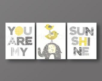 Elephant nursery Art Baby Nursery Decor Kids wall art bird yellow gray nursery wall art - Set of 3 Prints - You Are My Sunshine nursery