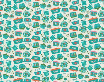 Kitchen Dishes in Teal Fabric by Riley Blake Designs - you choose the cut
