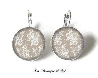 925 Sterling Silver: Stud Earrings with glass cabochons * flowers * (080218) 3 sizes