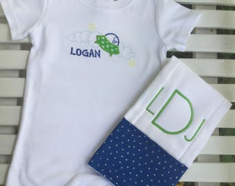 Monogrammed Outer Space Romper and Burp Cloth Gift Set!