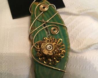 Ballistic Beauty Green Agate Slice Pendant