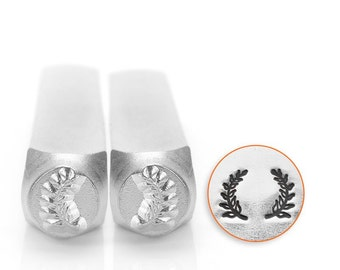 Wreath Metal Stamps, Wreath Ends Stamp Pack, Two Stamps, ImpressArt 6mm, Laurel Wreath, Left and Right Leaves, Stamping Tool Stamped Jewelry
