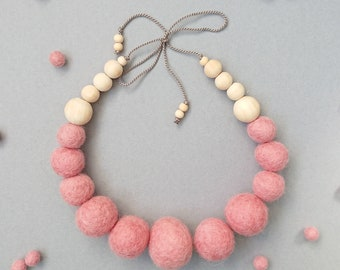 Felt Ball Necklace with Wooden Beads // Dusty Rose Pink // FREE gift box