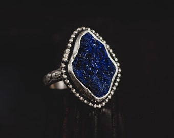 Raw Azurite Sterling Silver Ring-Rough Azurite Ring-Blue Druzy Ring-Vintage Inspired Royal Blue Ring-Dark Romantic Rings-Rough Stone Rings