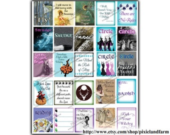 Pagan Witch Printable Planner Stickers Digital Download #3- Fits Erin Condren Life Planner