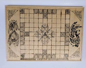 Board game handcrafted hnefatafl board / Kings Table / Viking chess / tafl and pieces board game. Norse game