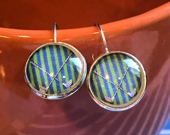 Golf club cabachon earrings - 16mm