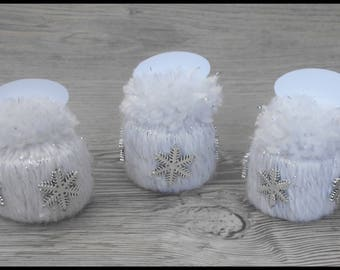 "6 cards ""hat"" white glitter for Christmas table decoration"