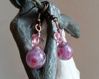 Earrings drop style poetic, purple and pink Lampwork Glass and Crystal, butterflies, handmade, lampwork earrings