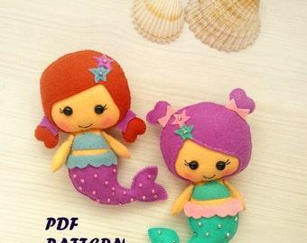 Felt Mermaid pattern Felt mermaid doll Felt mermaid ornament PDF easy sewing tutorial Handmade Dolls Gifts for kids Nursery Decor
