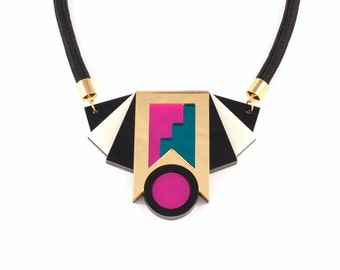 Geometric Perspex Statement Earrings - Gold, Teal, Pink FORM_019