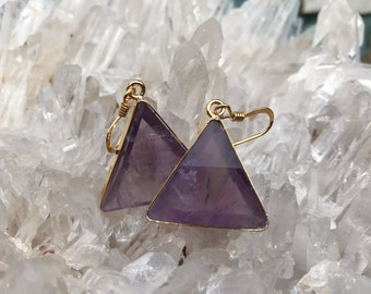 Amethyst Marcel Vogel Earrings - 18kt Gold on Silver - A Grade !  Powerful