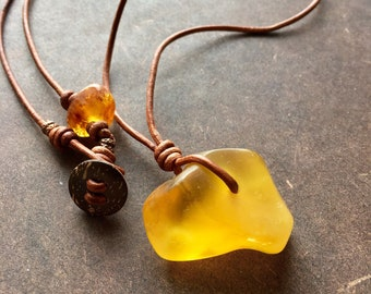 Baltic Amber Leather Necklace - Half Moon