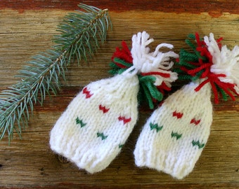 Two Miniature Hats- White, Red, Green- Hand Knit-  Doll, Small Pet