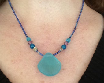 Sea Glass Necklace: Blue Shell Necklace