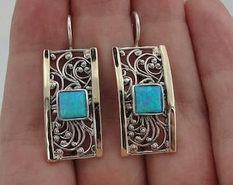 Jewela  9k Yellow Gold Sterling Silver Filigree Opal Hanging Earrings (s e1130a