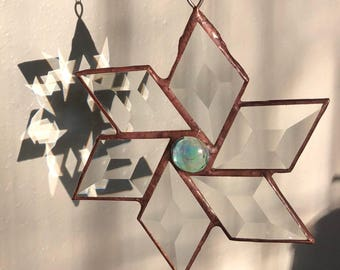 Stained glass bevel flower / star