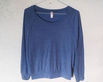 Vintage Tri-Blend Rib Lightweight Raglan Pullover Sweater Top, Athletic Blue, small
