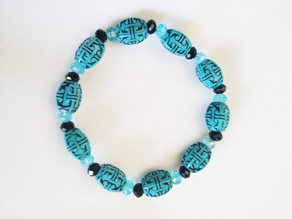 blue black beaded bracelet stretch acrylic glass bead western boho jewelry new