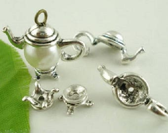 2 place mats teapots antique silver color, for insertion of Pearl Center