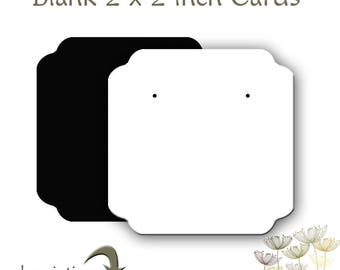Blank Cards, Earring cards, Blank Earring cards, Jewelry Display Cards, 2 x 2 inch Cards, 60 Blank Cards, Stud Ear Cards