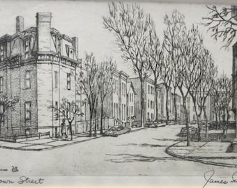 1950's James Swann Listed Chicago Printmaker OlD Town Street Chicago Mid Century Etching - Signed