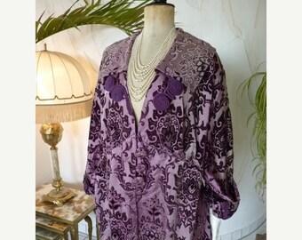 ON SALE 1910 Purple Dévoré-Velvet Coat, Antique Coat, Edwardian Coat, antique dress, antique gown, Edwardian Dress