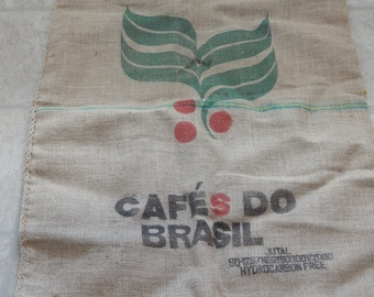 Vintage Coffee Bean Burlap Bag from Brazil
