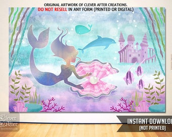 Mermaid Backdrop Enchanted Sea Instant Download Poster Background Little Under The Back Drop Mood Setter Party For Girls