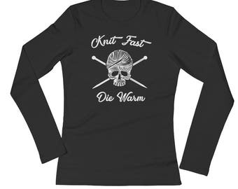 Knit Fast Die Warm Women's Knitting Shirt   Knitting Shirt   Knitting Gift   Knitter Shirt   Funny Knitting Shirt   Skull Shirt   Yarnaholic