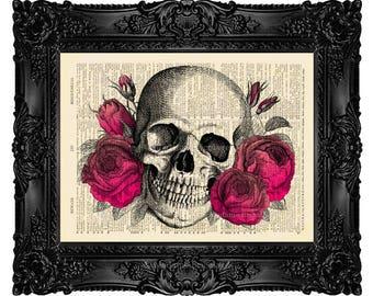 Floral Skull Print, Skull Flowers Decor Floral Skull Decor Skull Wall Hanging Sugar Skull Poster Sugar Skull Decor Skull Dictionary Art 114
