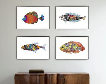 Set modern fish print, set amount, set option, modern print set, modern print wall art, colorful print, choose set, sets, or only one print