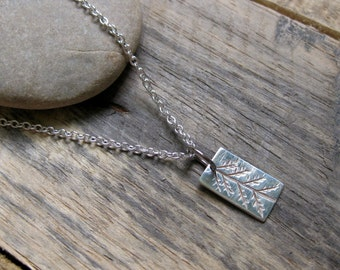 Little Primitive Pine // Fine Silver Pendant // Minimalist // Naturalist // Eco Chic // Sterling Silver Chain // Custom Made
