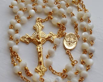 Mother of Pearl Rosary in Golden Finish. Catholic rosary. Prayer Beads. Gold Rosary Beads UK.