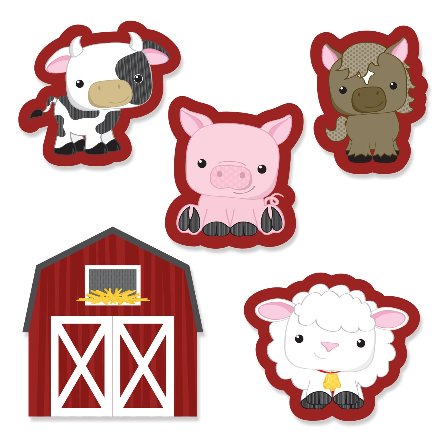 24 pc. Small Farm Animals Shaped Paper Cut Outs Baby Shower