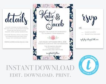 Editable Wedding Invitation Template, Printable Wedding Invitation, Wedding Invitation Printable, Invitation Set,  Editable Invite Template