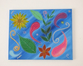 Paisley and flowers painting.