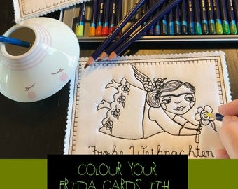 Colour Your own FRIDA on these cute, whimsical Blackwork ITH Machine Embroidery Christmas Cards with Frida motiv and in 4 diff. languages
