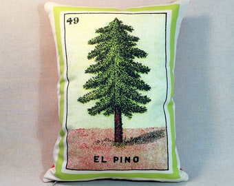 CLEARANCE Sale: El Pino Pine Tree Loteria Pillow Cover 1920, Mexican Loteria, Day of the Dead, Dia de los Muertos, Loteria Pine Tree Pillow