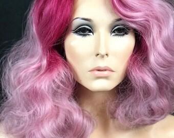 Fuchsia Pink & Grey Ombre Wig