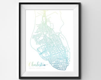 Charleston Map | Green Blue | Charleston | Charleston Print | Charleston Poster | Charleston Art | Charleston SC | South Carolina | Map