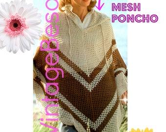 Ladies Hooded Poncho CROCHET Pattern • PdF Pattern • Long Mesh Feminine Poncho w Hood • Boho Lovely • Vintage 1970s • Cool Summer Evenings